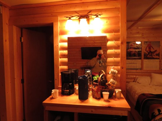Trail Center Lodge : L is bathroom, this over the fridge, double on the R twins down the left side....table, chairs