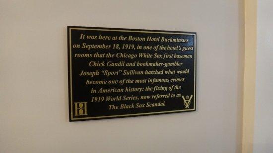 Boston Hotel Buckminster: White Sox historical marker