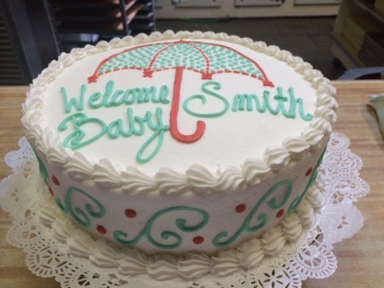 Magnificent Baby Shower Cake With Umbrella Westhampton Pasty Shop Richmond Va Funny Birthday Cards Online Elaedamsfinfo