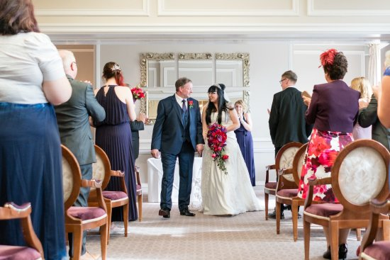 Brockencote Hall Hotel: Exiting the Chaddesley Restaurant as Husband and Wife