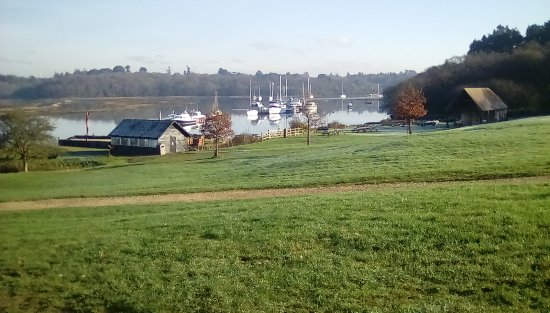 The Master Builder's House Hotel: View across river from the hotel
