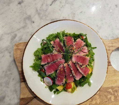 Our bright and fresh Ahi Tuna Salad, a delicious and healthful addition to your visit!