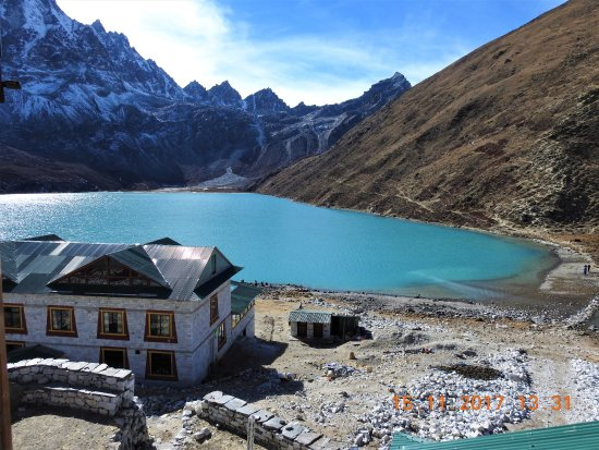 Beautiful view of the Gokyo Lake, Renjo La Pass from room 204