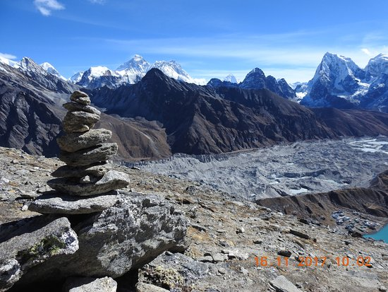 View of Mount Everest, Gokyo town from Gokyo peak