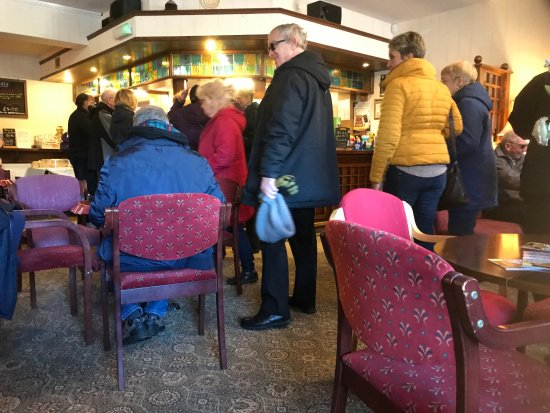 Rolleston on Dove, UK: Walkers joining the queue for morning coffee