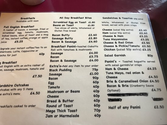 Rolleston Club: The menu for the Coffee Lounge