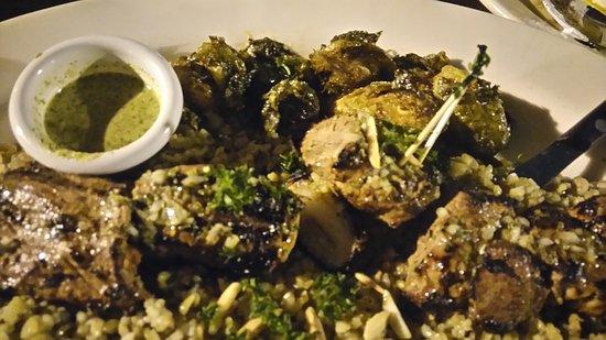 Dishdash: The lamb kabab tastes great! (the nighttime lighting isn't doing it justice)