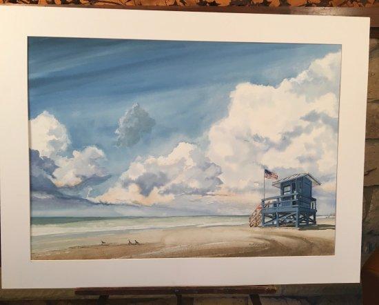 "Pipersville, PA: Original Watercolor, ""Siesta Key Before the Storm"", Siesta Key Florida"