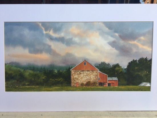 "‪‪Galvanized America Inn and Art Gallery‬: Original Watercolor, ""Red Barn at Dusk"" Lebanon County PA‬"