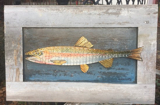 "‪‪Galvanized America Inn and Art Gallery‬: Original Razor Blade Art, ""Razor Trout #1"" on reclaimed wood‬"
