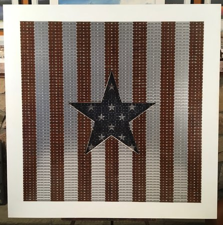 "Pipersville, PA: Original Razor Blade Art, ""All Star #3"" unframed on masonite"
