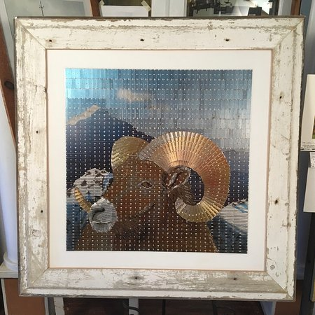 "Pipersville, PA: Original Razor Blade Art, ""Mountain Majesty"" Reclaimed wood frame"