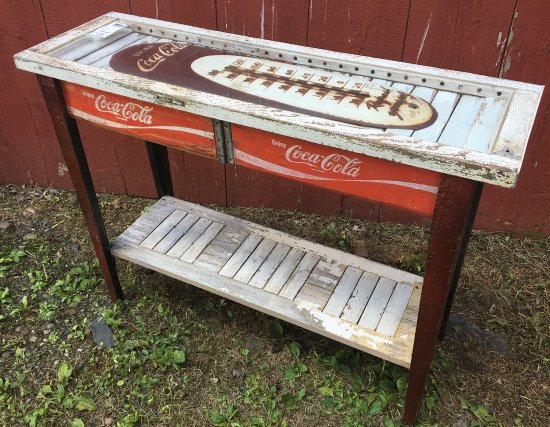 Pipersville, PA: Original Reclaimed Wood Table featuring Vintage Coke crates &Thermometer