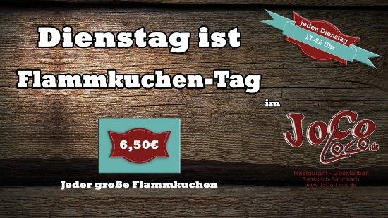 Ransbach-Baumbach, Tyskland: Dienstag ist Flammkuchen-Tag