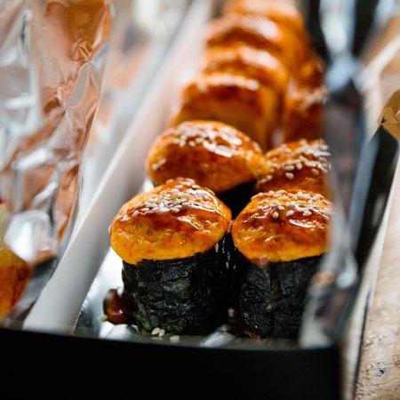 """Miami Set"" - Baked sushi with: Eel, Salmon, Shrimp, Crab mix and Shiitake mashrooms."