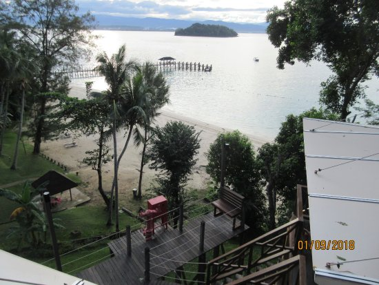 Manukan Island Resort: This is a view from the room looking down at the beach that is set aside for guests of the hotel