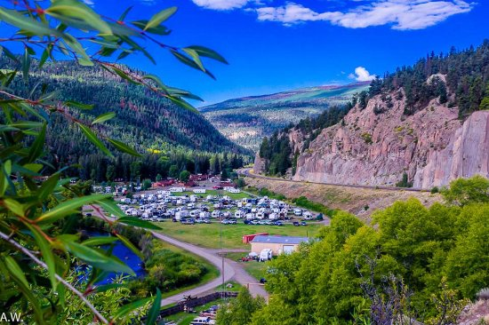 South Fork, CO: One's first glimpse of Fun Valley Family Resort traveling south on Hwy 160 west out of South For