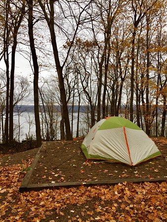 Frontenac, MN: Our campsite w/ the river directly behind us