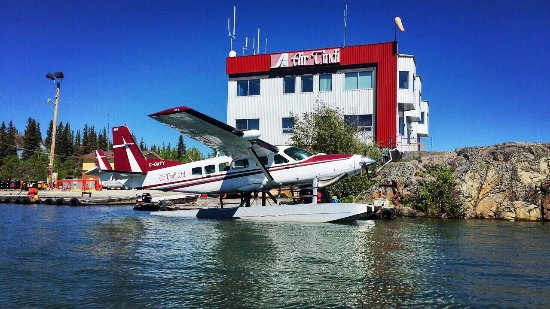 Yellowknife, Canada: Beautiful blue skies over Great Slave Lake and the Air Tindi floatbase.  23 Mitchell Dr Yellowkn
