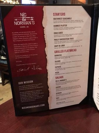 Nic And Norman S Restaurant Menu