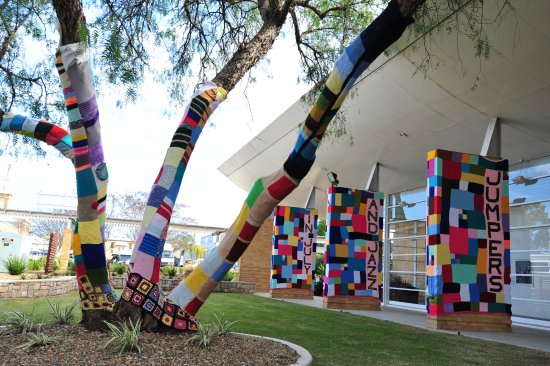 Warwick Art Gallery featuring yarn installations for the Jumpers and Jazz in July festival