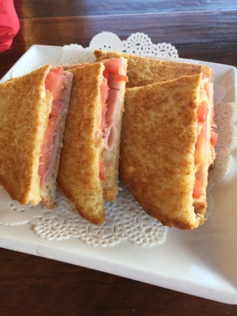 Ham, cheese, tomato and onion toasted sandwich - Picture of The ...