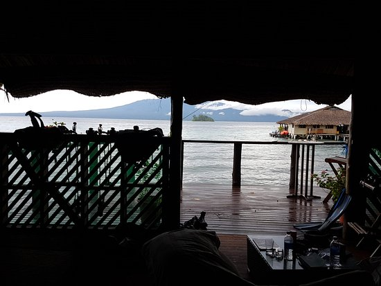 Gizo, Solomon Islands: View from bungalow to restaurant