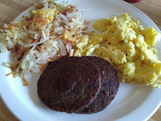 Mountain City, TN: Sausage, eggs, hash browns. Very good.