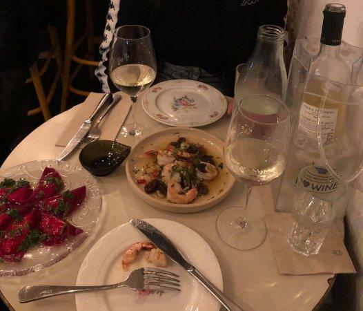 Ouzeria: Beetroot ravioli and shrimp