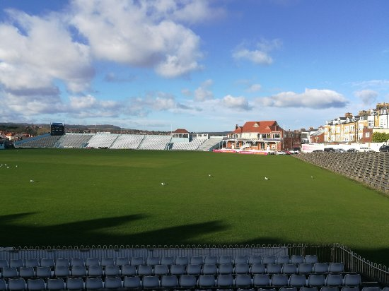 Scarborough Cricket Club: View of the ground from outside the tea room