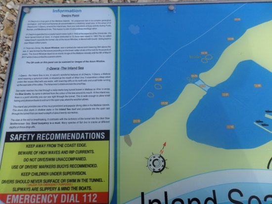 Dwejra Bay: Information board about Inland Sea