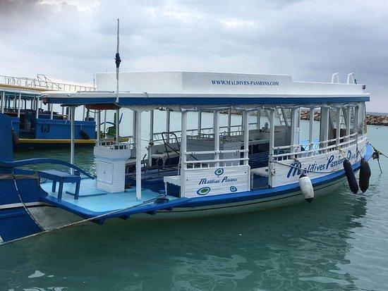 Maldives Passions: Le bateau: un DHONI traditionnel maldivien bien aménagé et assez spacieux pour la plongée.