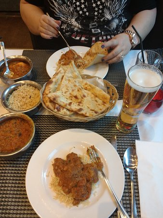 Bukharah: Main courses; chicken bhuna and lamb bhuna with rice and nan bread