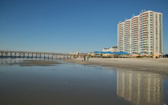 View of Prince Resort and the pier from the beach