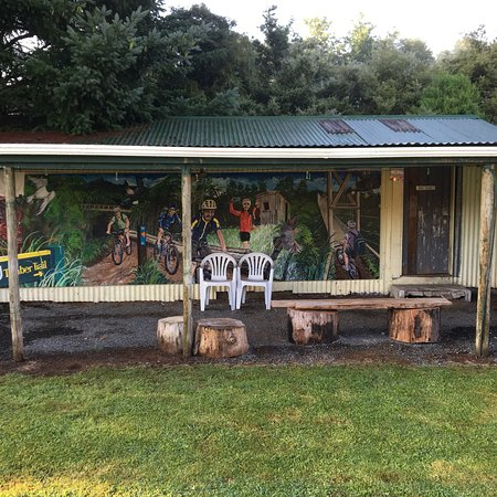 Benneydale, New Zealand: Really caters for cyclists with a lock up bike shed with an amazing mural on it.