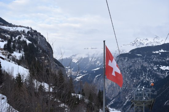 View from Gimmelwald cable car station. (Murren in top left)