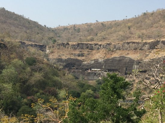 Ajanta Caves: Caves from distance