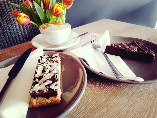 Yatton, UK:  Why not try a delicious vegan cakes - coconut flapjack or a sumptuous dark chocolate brownie