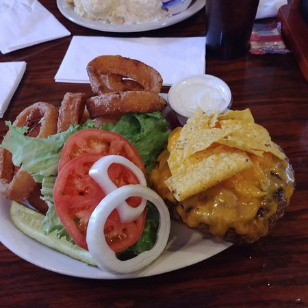 East Amherst, NY: Taco burger and onion rings.