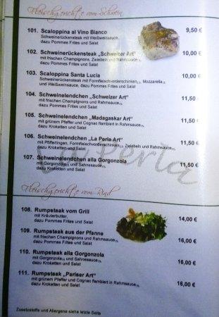 Grunberg, ألمانيا: Speisekarte
