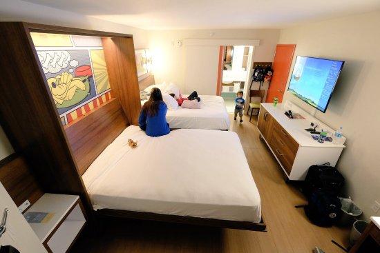 Disneys Pop Century Resort Sleeping Area With The Murphy Bed Pulled Down