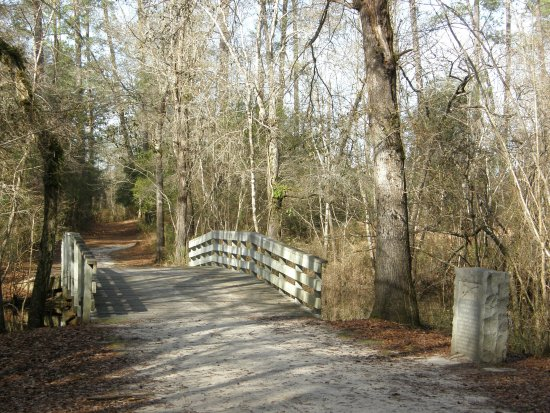 Currie, NC: A reconstructed bridge crosses Moore's Creek.