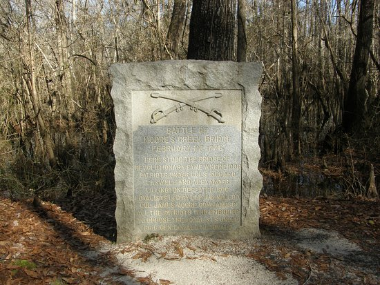 Currie, NC: This marker commemorates the skirmish fought at Moore's Creek in February, 1776.