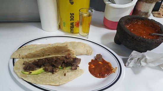 Mercado de San Juan: Lion Quesadilla with Mezcal and roja salsa