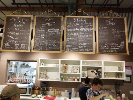 Cowlicks Hand Made Ice Cream: Menu board February 2018
