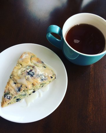 Winterport, ME: Locally made blueberry-ginger scone and fresh brewed earl grey tea