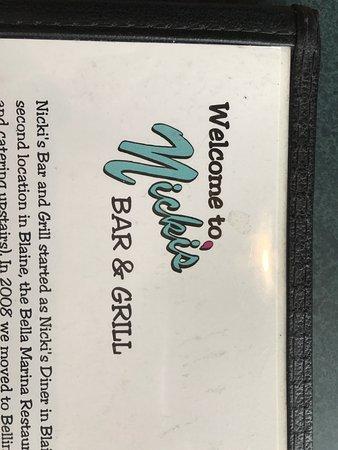 Nicki's Bella Marina: menu