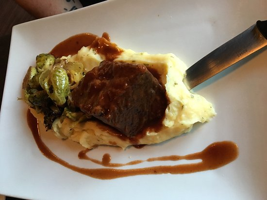 Berkeley Springs, WV: Braised Short Rib with Yukon Mashed Potatoes; Brussels sprouts and Demi-glace