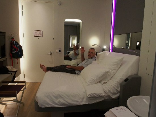 Adjustable bed up about 3/4 of the way possible - Picture of YOTEL ...