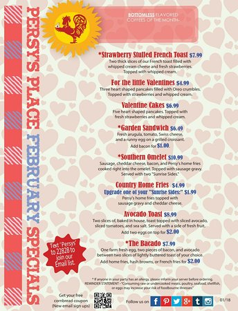 Persy's Place: February Specials